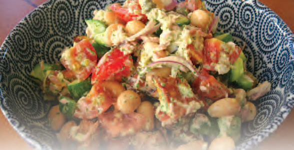 Butterbean kumara and tuna salad