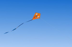 Kite flying in a blue sky
